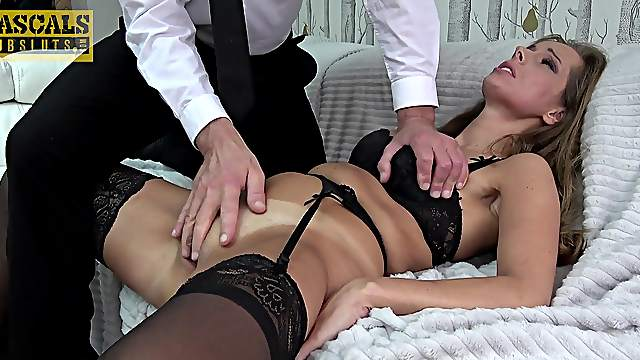 Rough sex and deep gagging for a totally submissive MILF