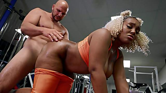 Thick ebony feels massive inches ramming her so good