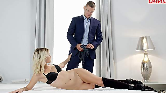 Angelic Lika Star lets a guy experiment with softcore bondage