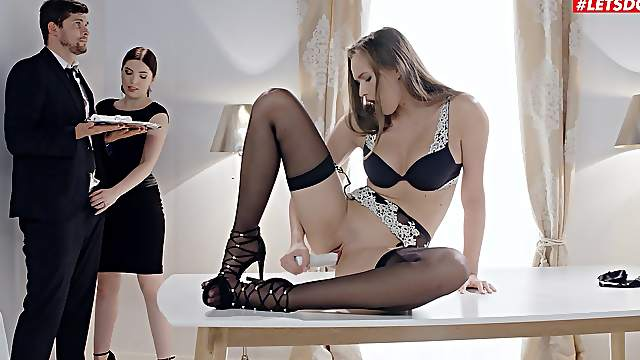 Seductive women are keen to share some meat together