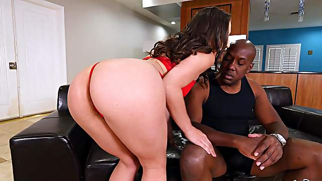 Strong black cock for married woman in red lingerie
