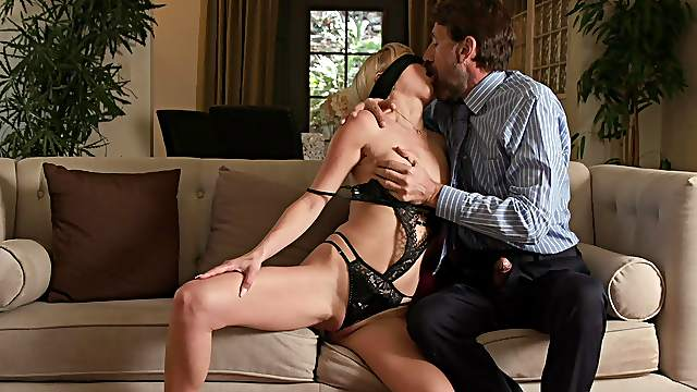 Blind folded blonde gets the treat she always wanted