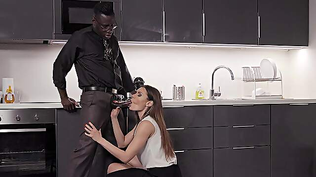 Black dude hard fucked hot busty woman in her kitchen