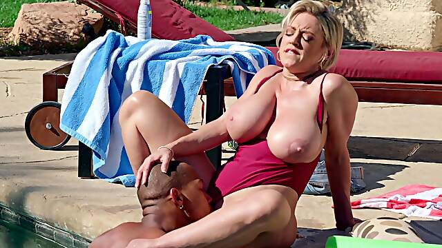 Mature mature tries to keep it together in hardcore interracial
