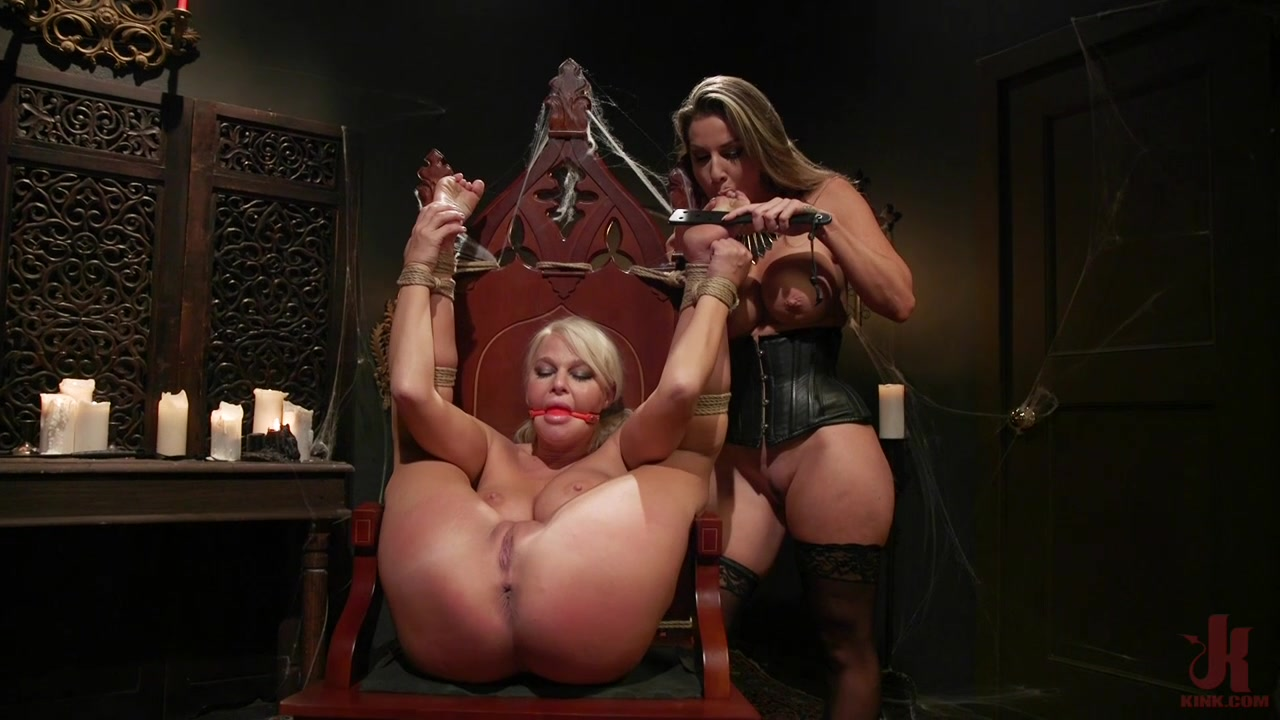 Submissive lesbian teen in rough femdom cam play