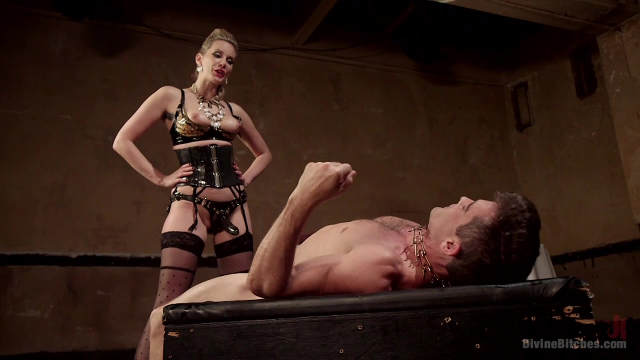 Mistress fucks her male slave in rough manners