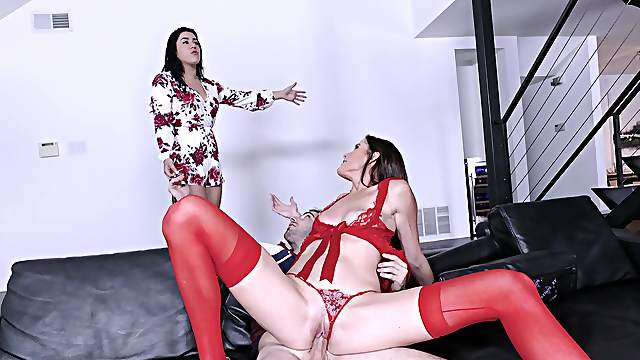 Sofie Marie joins when discovering young Monica Sage getting screwed