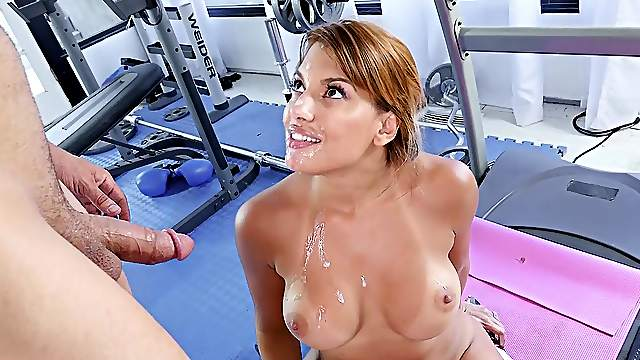 Sex at the gym with the potent trainer and the wife