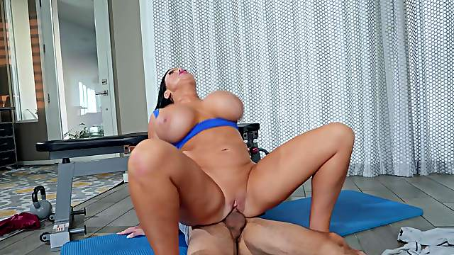 Energized raven with huge melons, crazy cock ride on a young hammer