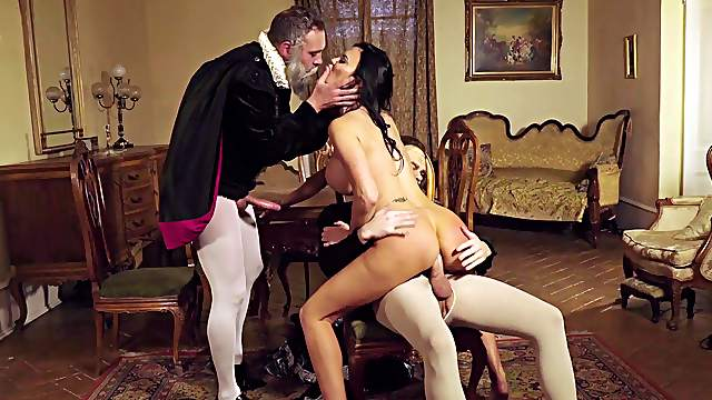 Excellent cosplay threeway with horny MILF and two horny gents
