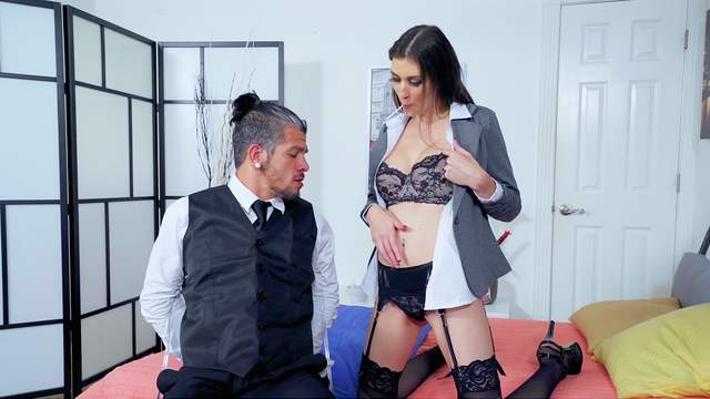 Stunning Angelina Diamanti wears black lingerie and gets fucked