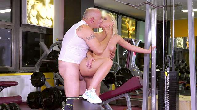Sensual blonde works out and fucks at the same time