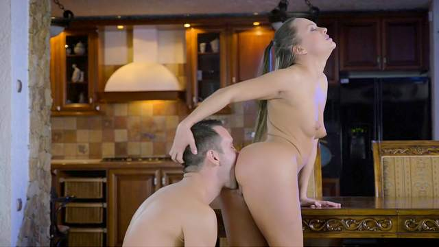 Skinny doll screams her heart out by how hard the guy fucks her