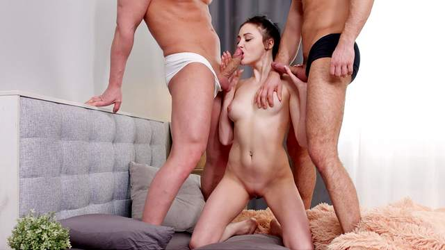 Sweetie handles two dicks at the same time