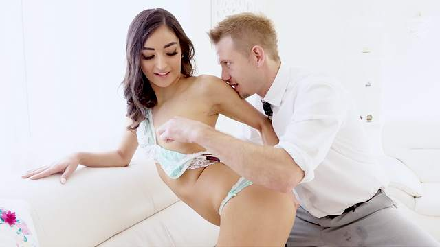 Gagged and roughly fucked after a nice oral foreplay