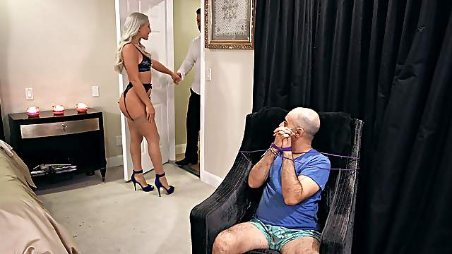 Abella Danger sports a bush while bound cuckold watches her get laid