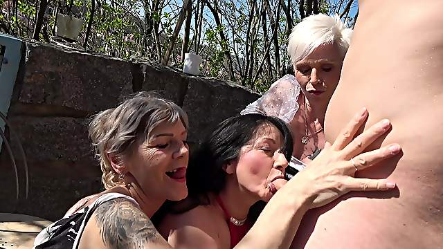 Caring young buck gives it up to three lustful grannies
