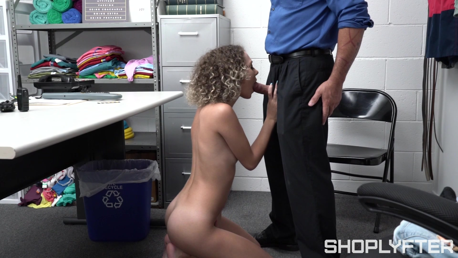 Shoplifter suits her petite cunt with the store manager's huge dong